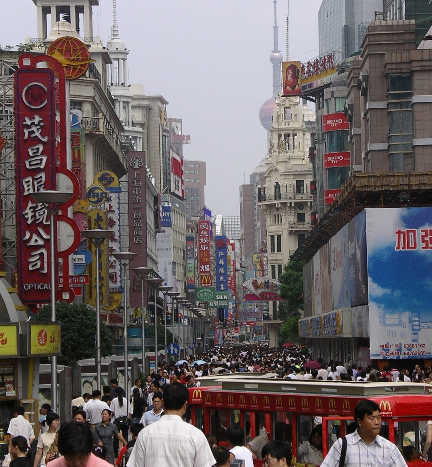 China overpopulated modern city street