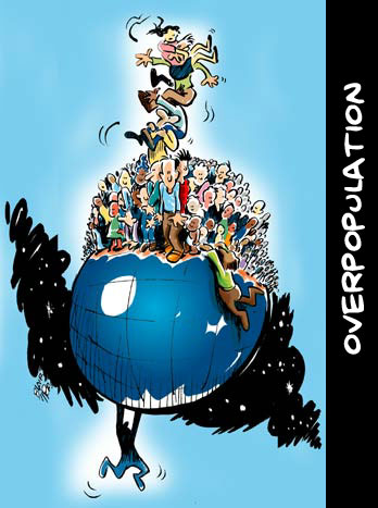 cartoon human overpopulation hanging on globe