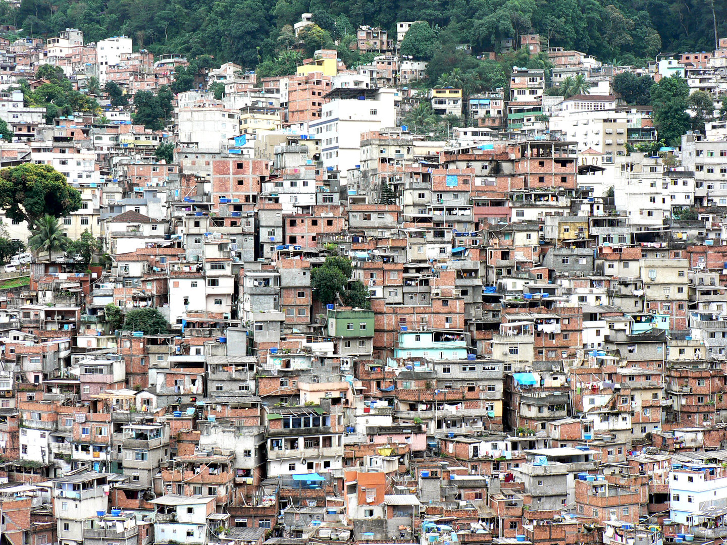 overpopulated slum